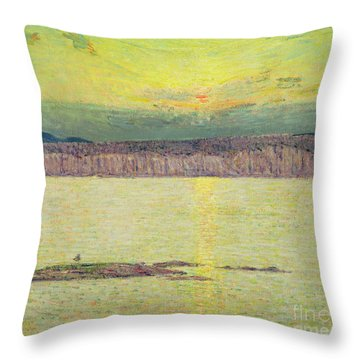 Sunset Throw Pillow by Childe Hassam