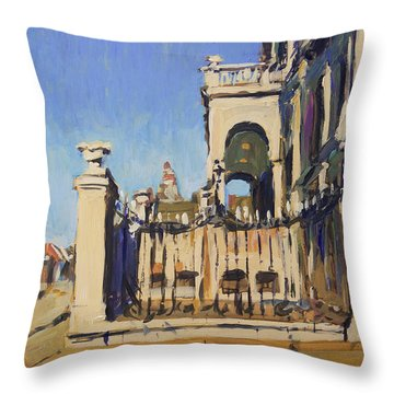 Sunset Cityhall Maastricht Entrance Throw Pillow
