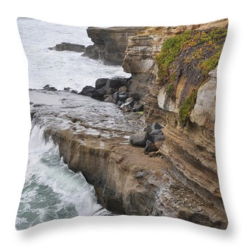 Sunset Cliffs San Diego Portrait Throw Pillow