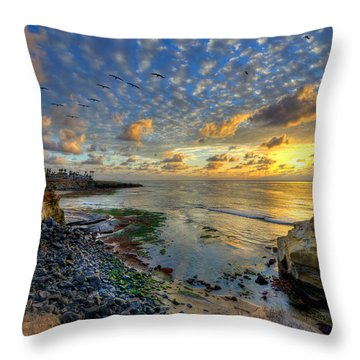 Sunset Cliffs With Brown Pelicans Throw Pillow