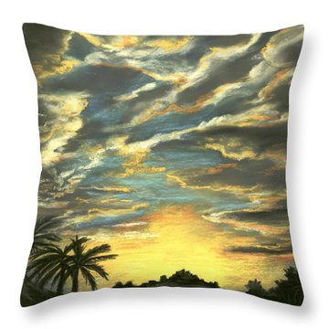 Throw Pillow featuring the painting Sunset Clouds by Anastasiya Malakhova