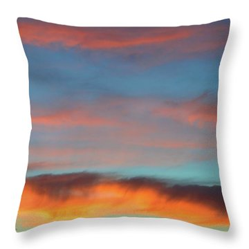 Sunset Clouds In Blue Sky  Throw Pillow