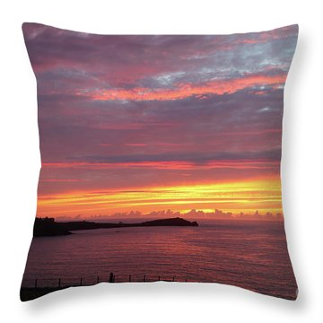 Throw Pillow featuring the photograph Sunset Clouds In Newquay Cornwall by Nicholas Burningham
