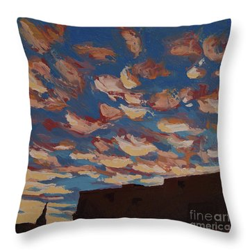 Throw Pillow featuring the painting Sunset Clouds Over Santa Fe by Erin Fickert-Rowland