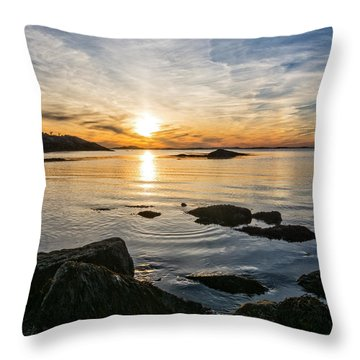 Throw Pillow featuring the photograph Sunset Cove Gloucester by Michael Hubley