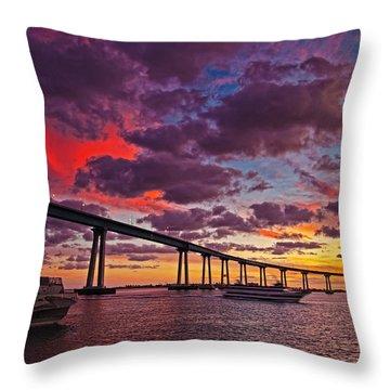 Sunset Crossing At The Coronado Bridge Throw Pillow