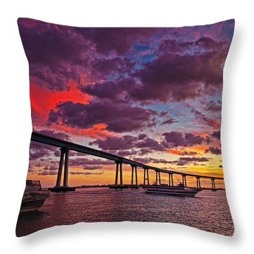 Sunset Crossing At The Coronado Bridge Throw Pillow
