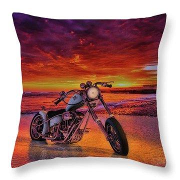 Throw Pillow featuring the photograph sunset Custom Chopper by Louis Ferreira