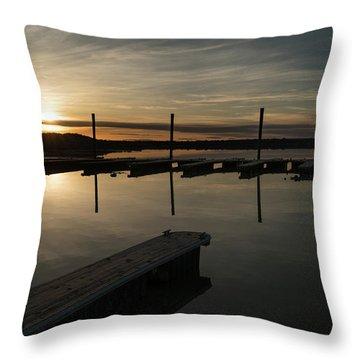 Sunset Docks Throw Pillow by Justin Johnson