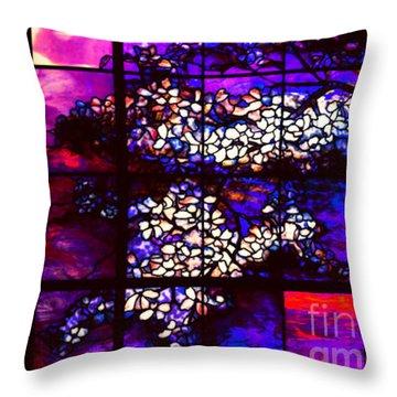 Sunset Dogwoods Neo Tiffany Window Throw Pillow