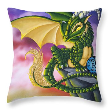 Sunset Dragon Throw Pillow