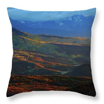 Sunset During Autumn Below The San Juan Mountains In Colorado Throw Pillow by Jetson Nguyen