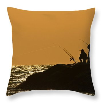 Sunset Fishermen Throw Pillow