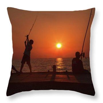 Sunset Fishermenr Throw Pillow