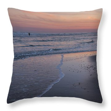 Throw Pillow featuring the photograph Sunset Fishing Seaside Park Nj by Terry DeLuco
