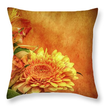 Sunset Flowers Throw Pillow