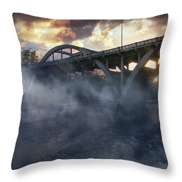 Sunset Fog At Caveman Bridge Throw Pillow