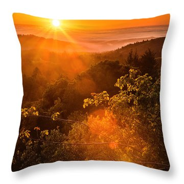Sunset Fog Over The Pacific #2 Throw Pillow