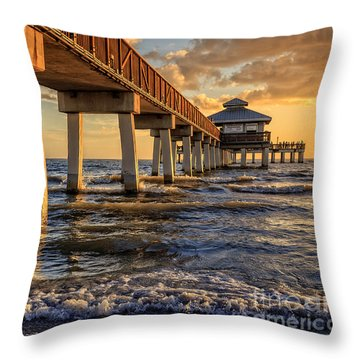 Throw Pillow featuring the photograph Sunset Fort Myers Beach Fishing Pier by Edward Fielding