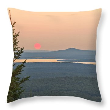 Sunset From Cadillac Mountain Throw Pillow
