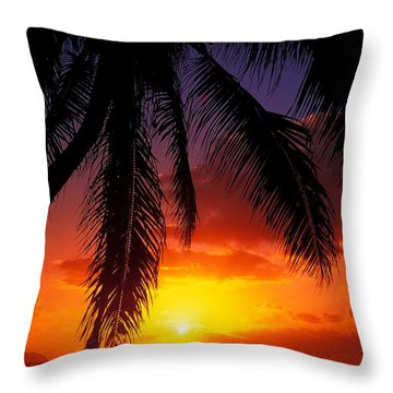 Sunset From The Beach Throw Pillow by Vince Cavataio - Printscapes