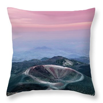 Sunset From The Top Of The Etna Throw Pillow