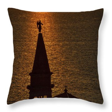 Throw Pillow featuring the photograph Sunset From The Walls #2 - Piran Slovenia by Stuart Litoff