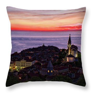 Throw Pillow featuring the photograph Sunset From The Walls #3 - Piran Slovenia by Stuart Litoff