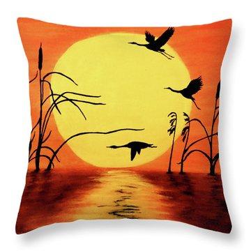 Sunset Geese Throw Pillow