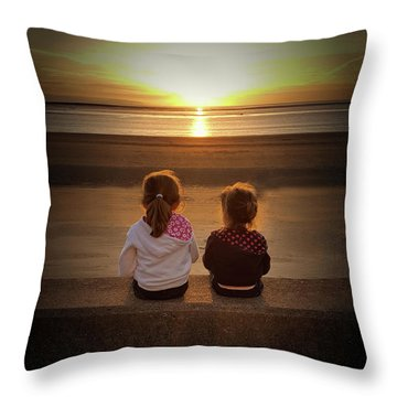 Sunset Sisters Throw Pillow