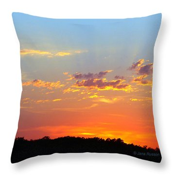 Sunset Glory Orange Blue Throw Pillow by Jana Russon