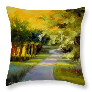 Throw Pillow featuring the painting Sunset Glow by Chris Brandley