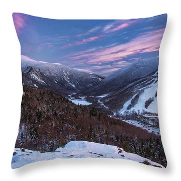 Sunset Glow Over Cannon Mountain Throw Pillow