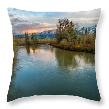 Sunset Glow Over The Snoqualmie River Throw Pillow