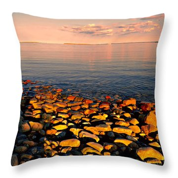 Sunset Glowing On Beach Rocks Throw Pillow