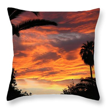 Sunset God's Fingers In Clouds  Throw Pillow by Diane Greco-Lesser