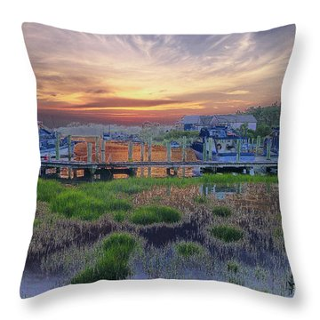 Sunset Harbor Dream Throw Pillow