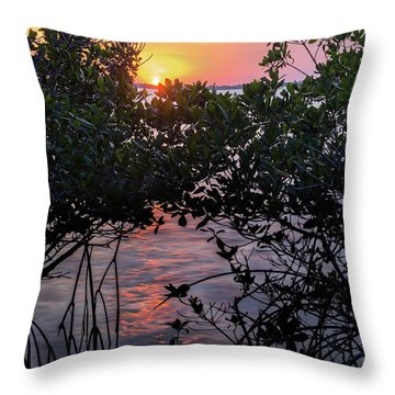 Throw Pillow featuring the photograph Sunset, Hutchinson Island, Florida  -29188-29191 by John Bald