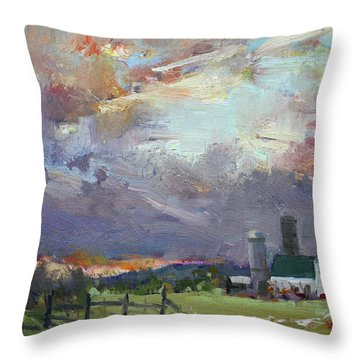 Sunset In A Troubled Weather Throw Pillow by Ylli Haruni