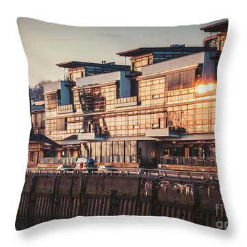 Sunset In Altona Hamburg Throw Pillow