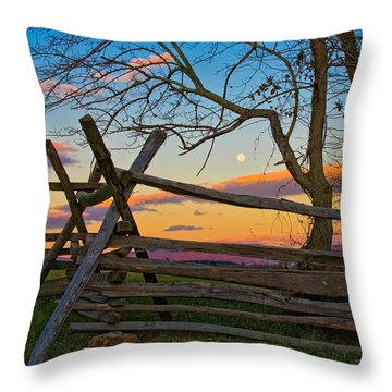 Sunset In Antietam Throw Pillow by Ronald Lutz