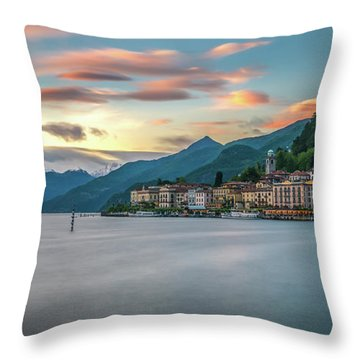 Sunset In Bellagio On Lake Como Throw Pillow by James Udall