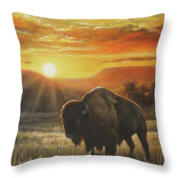 Sunset In Bison Country Throw Pillow