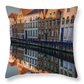 Sunset In Bruges Throw Pillow