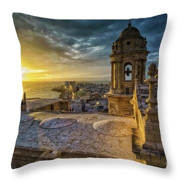 Throw Pillow featuring the photograph Sunset In Cadiz Cathedral View From Levante Tower Cadiz Spain by Pablo Avanzini