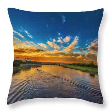 Sunset In Dresden Throw Pillow