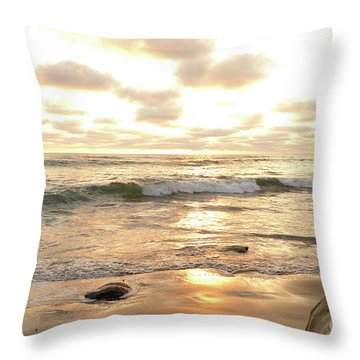 Sunset In Golden Tones Torrey Pines Natural Preserves #2 Throw Pillow by Heather Kirk