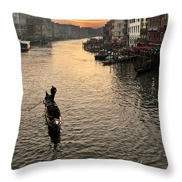 Sunset In Grand Canal Throw Pillow by Marco Missiaja