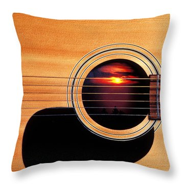 Sunset In Guitar Throw Pillow