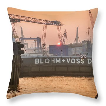 Sunset In Hamburg Port Germany Throw Pillow